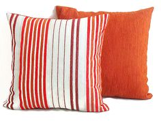 Stripe chenille pillow cover 18x18  Red orange white throw pillow  Custom chair sofa cushion cover  Linen accent indoor outdoor pillow (26.00 EUR) by SABDECO