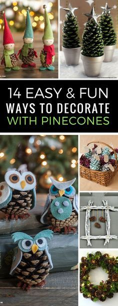 Easy Pinecone Crafts for Christmas - These DIY decor ideas are just what I needed since the kids always collect more pinecones than we know what to do with! Love that they look great but are easy to make and inexpensive too! | Pinecone Decor | Christmas D