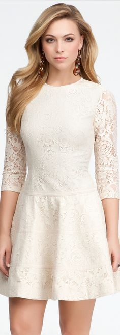 Lace 3/4 Sleeve Fit Flare Dress