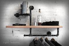 【 輕工業家具 】復古黑鐵水管木板置物架吊衣桿-特價設計風壁掛實木書架書櫃收納展示架 - Yahoo! 奇摩拍賣