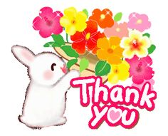 LINE 크리에이터스 스티커 - Summer flowers and Rabbit Example with GIF Animation Thank You Gifs, Thank You Images, Thank You Quotes, Thank You Cards, Thanks Gif, Thanks Card, Cute Good Night Messages, Thanks For Birthday Wishes, Thank You Flowers