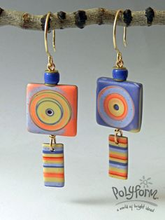 Stripes and Squares Earrings - full tute by Julie Picarello.   ~ Polymer Clay Tutorials