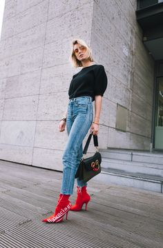 Balenciaga x Colette - a very promising collaboration! When I saw the news that Balenciaga is taking over the well-known parisian store. Casual Work Outfits, Hot Outfits, Work Casual, Fashion Outfits, Red Ankle Boots, Red Boots, Mom Jeans, Style Inspiration, Parisian Store