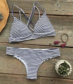 Hit summer beach must-have, stripe bikini-only $19.99! It is perfect for surfing in the sea or going around near the beach. That's a wonder choice for holiday.