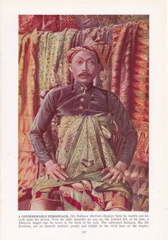 Balinese royalty with kris - color plate from 1940s book by route44west, $10.00