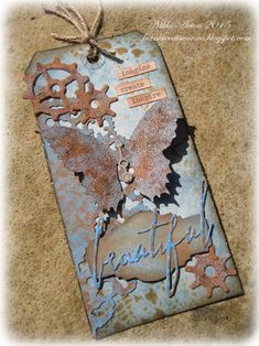 Tim Holtz Butterfly Duo Rusty Tag using Tim Holtz, Ranger, Idea-ology, Sizzix and Stamper's Anonymous products; Apr 2015