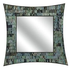 Wall mirror with a mosaic glass frame.Product: Wall mirror    Construction Material: Mosaic and mirrored glass    Color: Blue and green   Features:   Mosaic glass    Shades of colors effortlessly blend to any wall     Will enhance any dcor    Dimensions: 20 H x 20 W