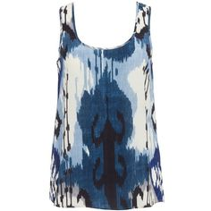Monkey Tank Top ALTUZARRA ($310) ❤ liked on Polyvore featuring tops, shirts, tank tops, tanks, blusas, blue top, shirts & tops, altuzarra, blue tank and blue shirt