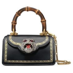 Women's Gucci Mini Gatto Top Handle Leather Satchel ($3,500) ❤ liked on Polyvore featuring bags, handbags, nero, mini handbags, white leather purse, mini satchel handbags, mini satchel purse and cat purse