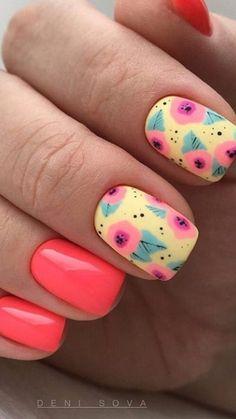 Shellac Nails, Toe Nails, Acrylic Nails, Happy Nails, Nail Art Hacks, Flower Nails, Trendy Nails, Spring Nails, Nails Inspiration