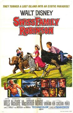 Swiss Family Robinson - I loved all these old Disney movies Old Disney Movies, Disney Movie Posters, Disney Films, Old Movies, Vintage Movies, Great Movies, Awesome Movies, Film Posters, Movies 2014