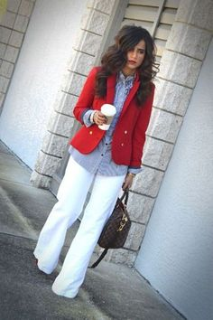 Work Attire This look is great for the work place because it looks comfortable and stylish yet professional as well. Any slack and button down top works for most work places but adding a colorful blazer adds a stylish touch to a plain outfit. Looks Style, My Style, Curvy Style, Style Work, Office Style, Cool Outfits, Casual Outfits, Red Skirt Outfits, Zara Blazer
