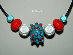 Collier fantaisie en perle de verre turquoise/orange et en cuir noir - Perles en verre à picots filée au chalumeau : Collier par cristilya