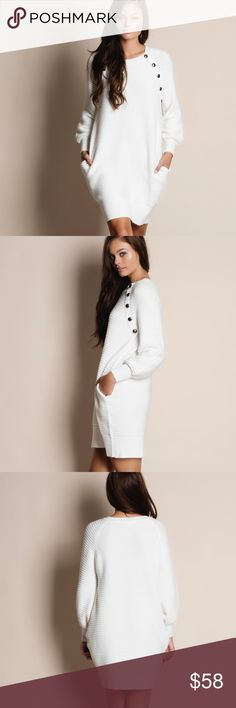 """NBF ❤️ Long Sleeve Faux Button Sweater Dress Long sleeve faux button sweater dress. Available in white and black. This listing is for the WHITE. This is an actual pic of the item - all photography done personally by me. Model is 5'9"""" 32""""-24""""-36"""". Model is wearing the size small. NO TRADES DO NOT BOTHER ASKING. 70% acrylic 20% viscose 10% spandex Bare Anthology Dresses Long Sleeve"""