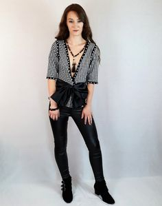 Bow, deep V top, handmade necklace and faux leather pants. All Black Fashion, Pink Fashion, Festival Outfits, Festival Fashion, Faux Leather Pants, Colour Board, Online Fashion Stores, Black Heart, Jacket Dress