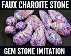 Polymer Clay Video Tutorial: DIY How to make Faux Charoite Stone. Polymer clay Imitation Technique, Instant Access