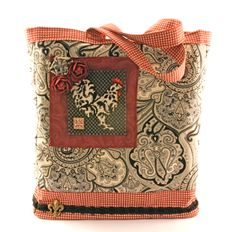 French Country Market Bag with Needlepoint Rooster Tutorial  #rooster