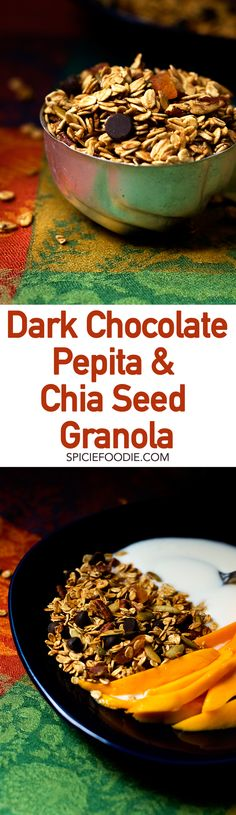 Dark Chocolate Chip, Pepita and Chia Seed Granola | #breakfast #snack #homemade