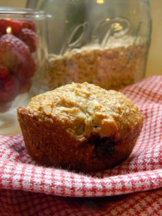 Bran muffins with raspberries, and almonds