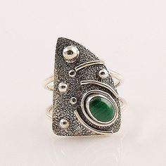 Malachite Artisan Sterling Silver Ring – Keja Designs Jewelry