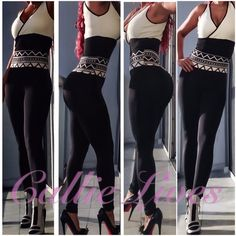 """Black BodyCon XL Legging High Waist Geo Aztec Band Tag Size: L/XL  Measurements Laid Flat (Double for Minimum fit) Waist 13""""  Hips 19"""" Length 42"""" Inseam 30""""  These leggings should fit a Waist 26""""-36"""" and Hips 38""""-46"""".  I'm wearing this size in the photos. My waist is 30"""" and my hips are 42"""".  I weigh 155 lbs at 5'6"""".  Cream Black Geo Aztec Printed Band  High Waist Design  Full Length Skinny Pants  Fabric 92% Polyester, 8% Spandex Just add the solid crop top from other listings by Callie…"""