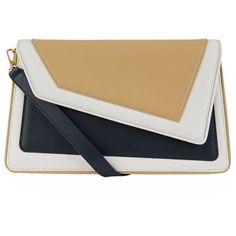 âme moi Chiado Clutch (£445) ❤ liked on Polyvore featuring bags, handbags, clutches, hand bags, man bag, handbag purse, flap handbags and flap purse