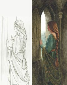 10 Painting Tips for Beginners Arte medieval Girl Drawing Sketches, Art Drawings Sketches Simple, Lady Drawing, Pencil Drawings For Beginners, Beautiful Sketches, Abstract Pencil Drawings, Medieval Drawings, Indian Art Paintings, Female Art