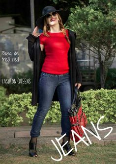 Look calça jeans e blusa vermelha Www.fashionmarigoes.blogspot.com.br