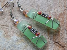 Spring Green Recycled Glass Dangle Long by UniqueChiqueJewelry, $13.00