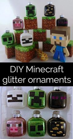 How to Make Minecraft Glitter Ornaments. Good for Christmas or just room decor in general. Hang this around a tree or near the ceiling for a festive Minecraft experience. Frugal Christmas, Holiday Crafts For Kids, Glitter Ornaments, Christmas Ornaments To Make, Craft Projects For Kids, Homemade Christmas, Christmas Fun, Glitter Decorations, Christmas Decorations