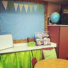 DIY, cheap classroom decor (tissue paper puffs, crinkle border, scrapbook triangles)