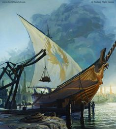 With the aid of the Elves of the Havens some of the folk of Nargothrond built new ships, and they went forth and explored the great Isle of Balar, thinking there to prepare a last refuge, if evil came; but it was not their fate that they should ever dwell there. ~ The Silmarillion, Chapter 14 (High Elf Ship by David Nash)