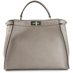 Fendi large 'Peekaboo' tote (40 780 SEK) ❤ liked on Polyvore featuring bags, handbags, tote bags, fendi, grey, grey leather handbag, gray leather tote, fendi tote, leather tote purse and leather tote handbags
