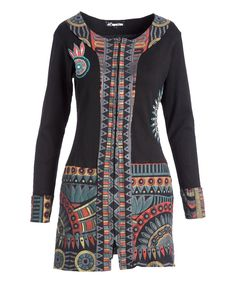 Take a look at this Black Geometric Contrast Zip Jacket- Plus Too today!