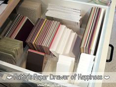 Ultimate Cardstock Organizing Tip for card making.. have a drawer of 1/2 sheets and 1/4 sheets ready to go.. makes card making so much easier! by Patty Bennett #pattystamps #stampinup