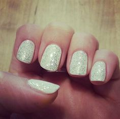 White sparkly glitter winter christmas nails