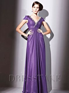 Floor-length A-line V-neck Backless Beading Purple Chiffon Prom Dresses, US$107.99
