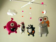 Baby Cribs Baby crib mobile Monster mobile Alien mobile felt by Feltnjoy. Baby Boy Nursery Decor, Baby Boy Nurseries, Baby Cribs, Baby Decor, Wood Hanger, Diy For Kids, Gifts For Kids, Felt Crafts, Tela