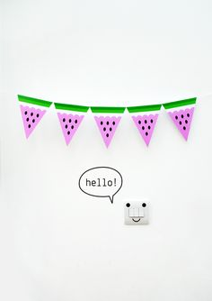Watermelon bunting by minieco - would be cute to line a buffet table for a summer party