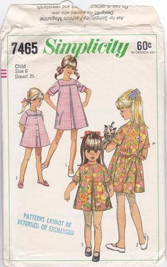 SALE 60s Cute Reversible Dress A-line Classic Front Pleat  Girl Size 6 Breast 25 Vintage Sewing Pattern Simplicity 7465 Complete