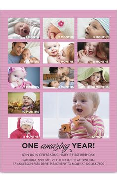 Pink Amazing Year 1st Birthday Invitation