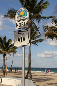 A1A road sign  This section of Fort Lauderdale Beach is at the end of Las Olas Boulevard. The City of Fort Lauderdale boasts more than seven miles of sparkling beaches that offer residents and visitors premier opportunities for recreation, relaxation and enjoyment. The City's award-winning wavewall and signature beachfront promenade highlight Fort Lauderdale's world famous coastline.  photo by NewEnglander pinned by www.wfpcc.com