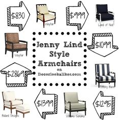 Decor Look Alikes | Jenny Lind Style Armchairs, brand name and look alike styles.