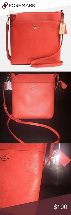 """✨NWT!""""Coach """"North/South swingpackin Leather Bag! ✨NWT!✨NWT!""""Coach """"North/South swingpackin Leather Bag!  NORTH/SOUTH in embossed textured leather...Leather Inside multifunction pockets Zip-top closure, fabric lining Strap with 23"""" drop for shoulder or crossbody wear..Color:; Watermelon 7 3/4"""" (L) x 8 1/4"""" (H) x1"""" (W) Coach Bags Crossbody Bags"""