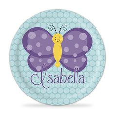 Butterfly Plate - Teal and Purple Butterfly Melamine Personalized Plate