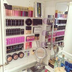 STORAGE - Gorgeous makeup display using a nail polish rack Make Up Organizer, Make Up Storage, Storage Ideas, Storage Organizers, Wall Makeup Organizer, Wall Storage, Diy Storage, Storage Solutions, Makeup Storage Wall