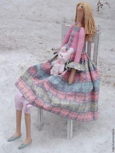 Купить Кукла-Тильда Тюльпановое настроение - кукла Тильда, интерьерная кукла, тильда, розовый, подарок