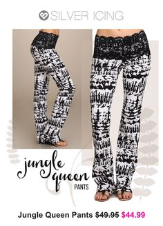 Absolutely in love with these! Love the wide lace waistband to help with shorter tops! www.silvericing.com/mkelly Jungle Queen, Silver Icing, Short Tops, Pajamas, Pajama Pants, Lace, Fashion, Cropped Tops, Moda
