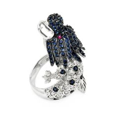 925 Sterling Silver Ladies Jewelry Blue And Clear Cubic Zirconia Stones Dragon Ring Dragon Measurement: 40.9mm: Size: 5