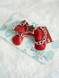 Red Vinyl Bow Brooch  Metal Chain Detail  OOAK  by limouze on Etsy